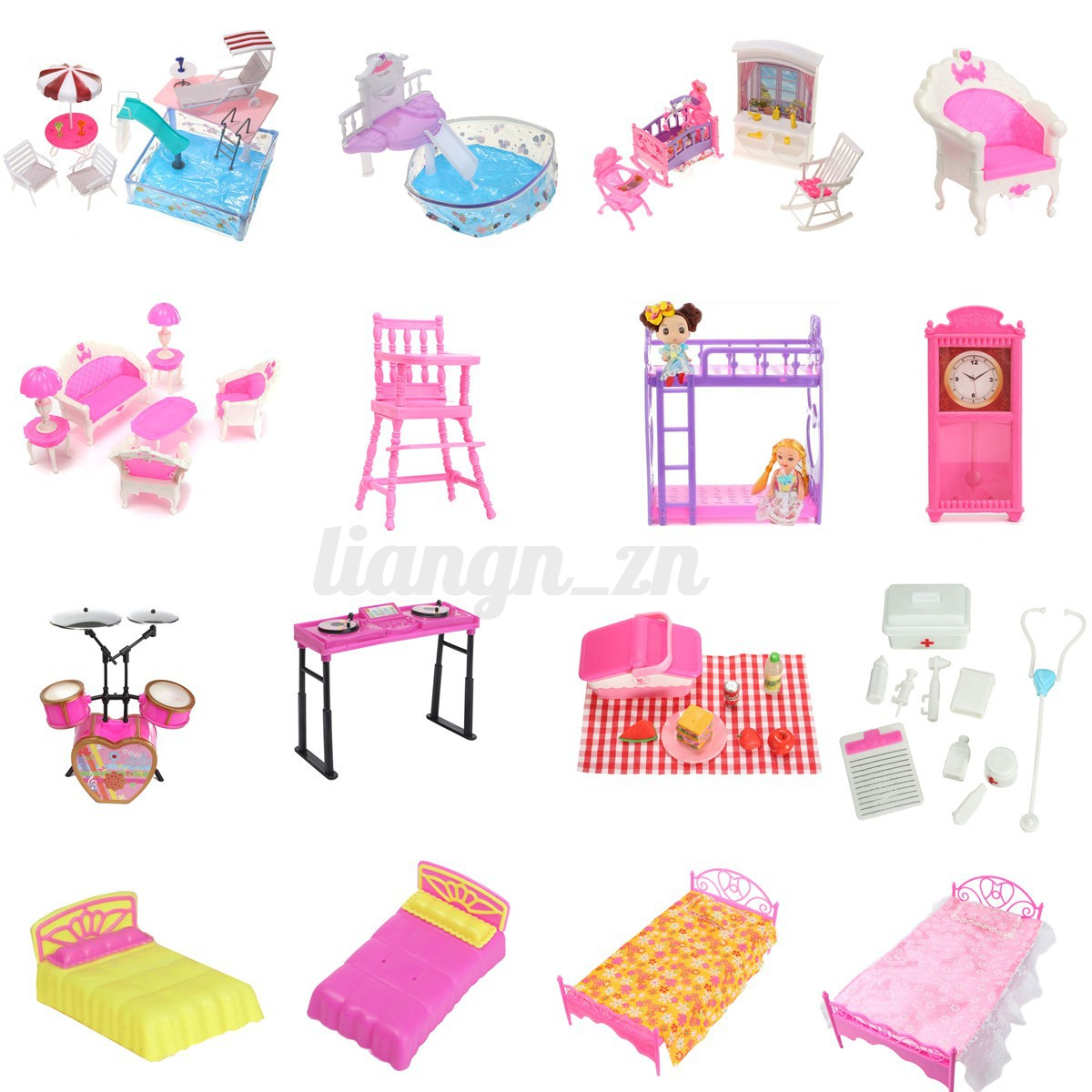 maison poup e meuble chaise chambre lit horloge barbie. Black Bedroom Furniture Sets. Home Design Ideas