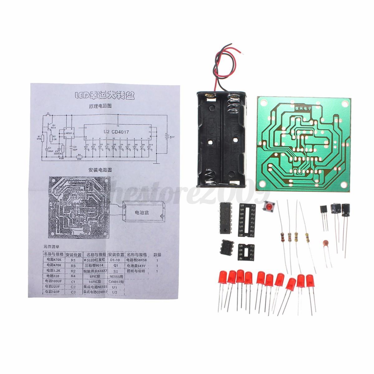 circuit diy kit 10 led flash light kit electronic wheel of fortune rh ebay com