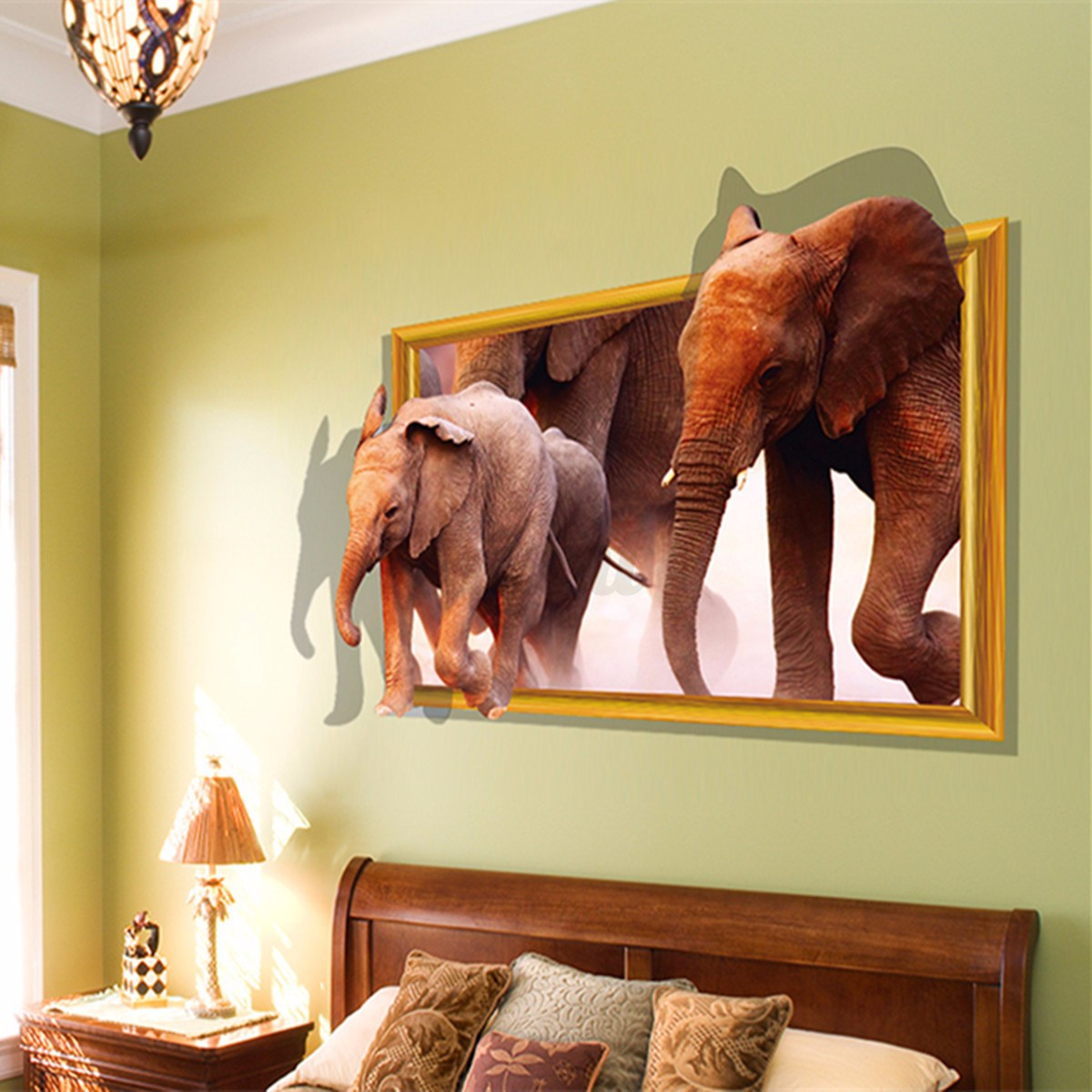 3d removable animals window view wall sticker decals mural for Decor mural 3d