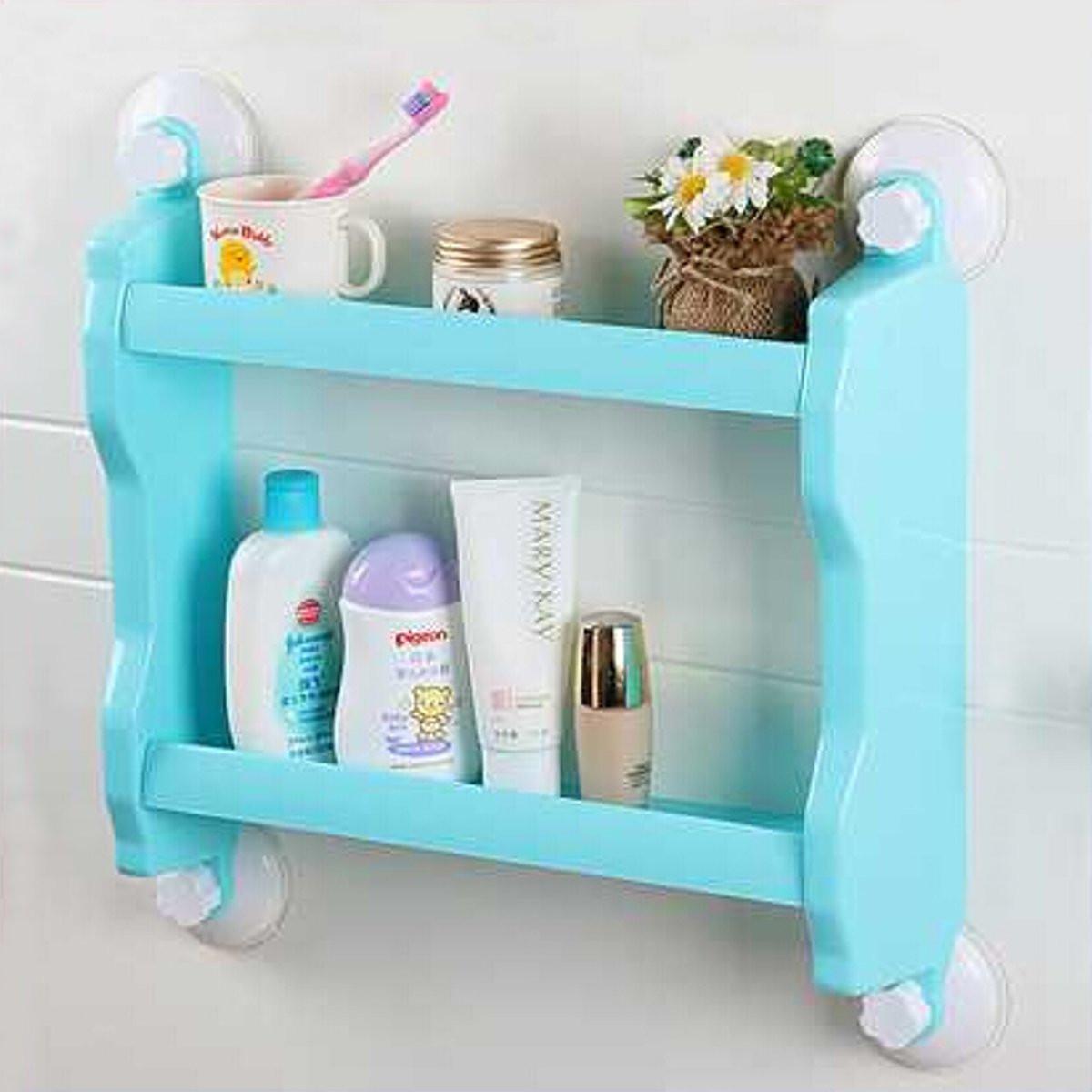 Plastic Suction Cup Bathroom Kitchen Heavy Storage Rack Organizer ...