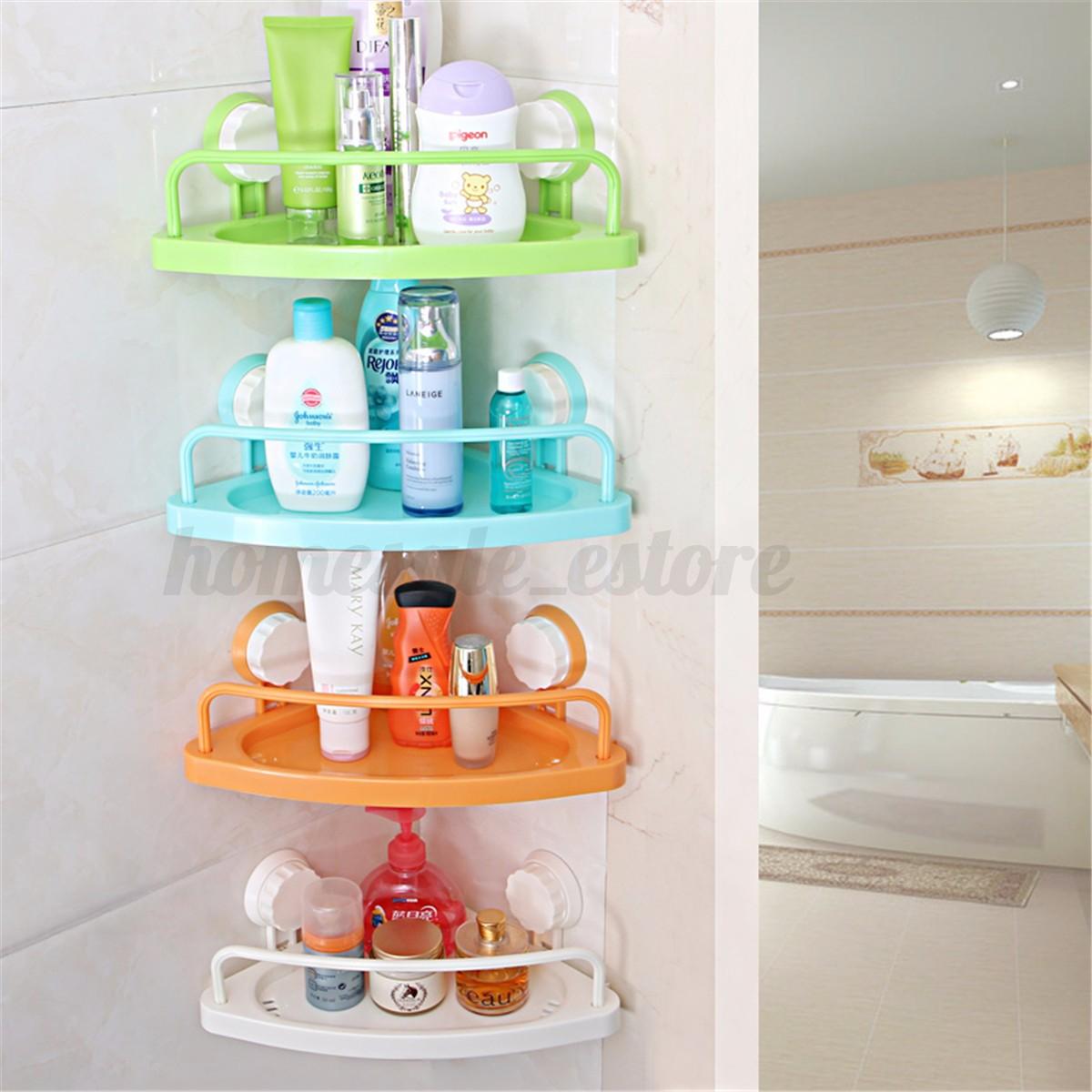 Bathroom Corner Shelf With Suction Rack Organizer Cup Storage Shower ...