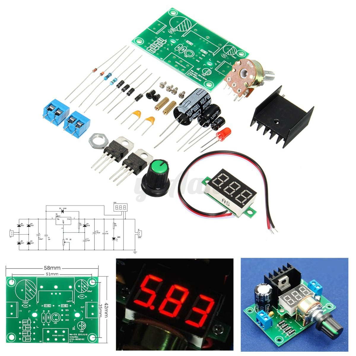Lm317 Adjustable Voltage Regulator Step Down Power Module Led Schematic Image Is Loading