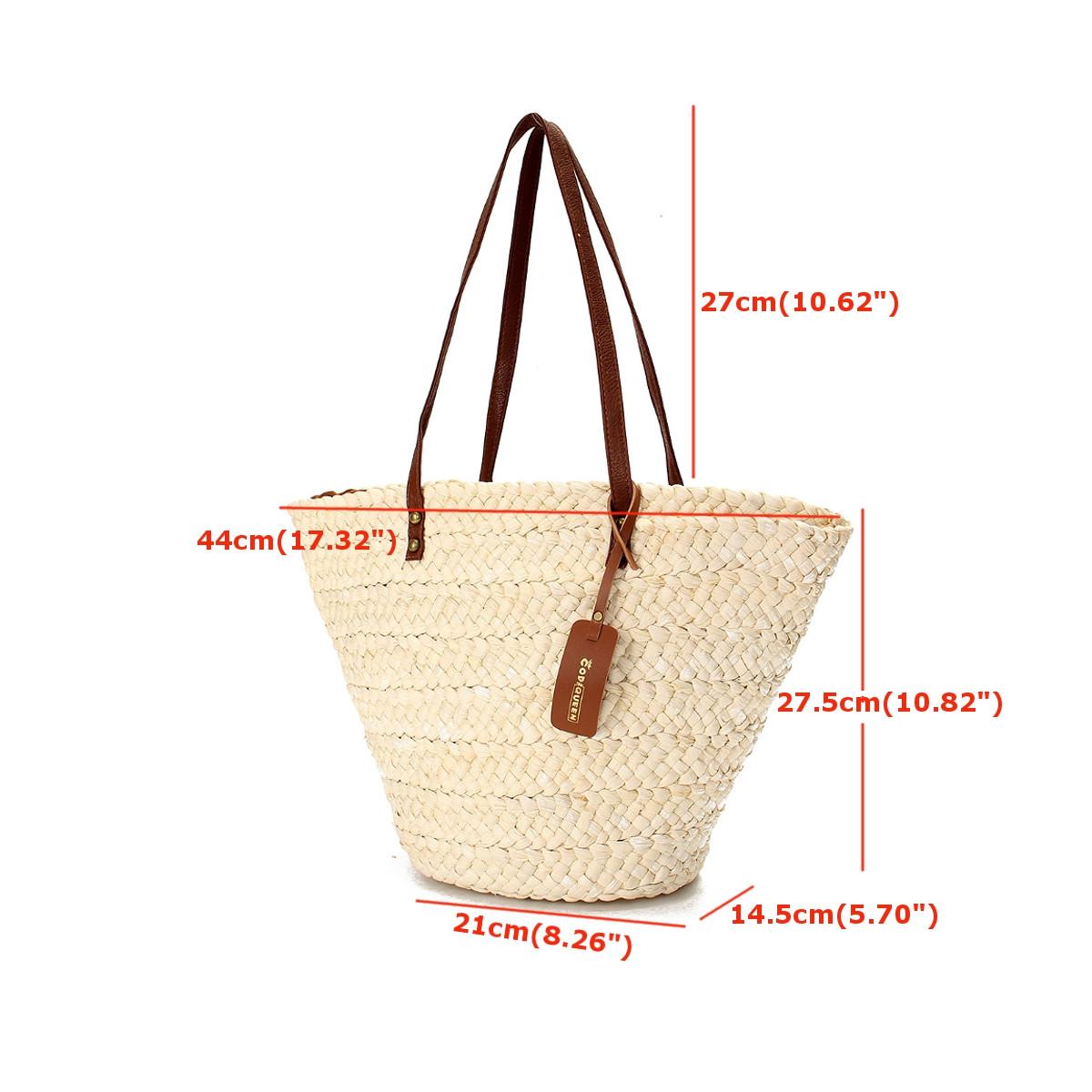 Strandtasche Basttasche Damentasche Strohtasche Korbtasche Schulter Handtasche D