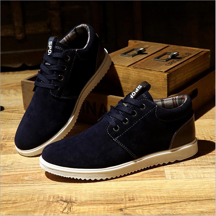 Hombre-Zapatos-Deportivo-Inglaterra-Nubuck-Sneakers-High-top-Mocasines-Zapatilla