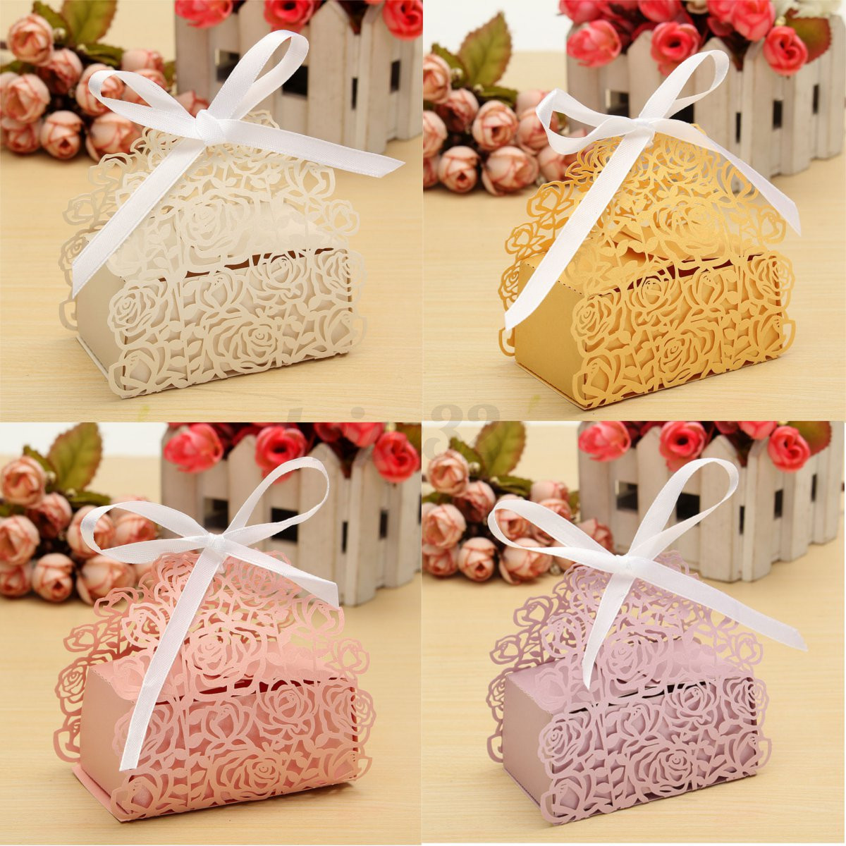 Rose Laser Cut Cake Candy Gift Boxes Ribbon Wedding Party Favor Baby ...