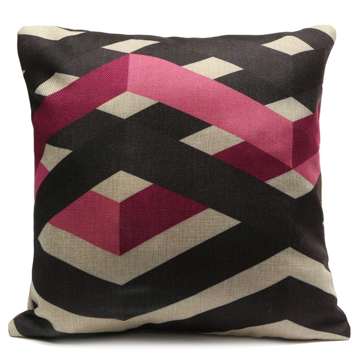 Geometric-Stripe-Wave-Zig-Zag-Pillow-Case-Cushion-Cover-Linen-Cotton-Home-Decor thumbnail 2