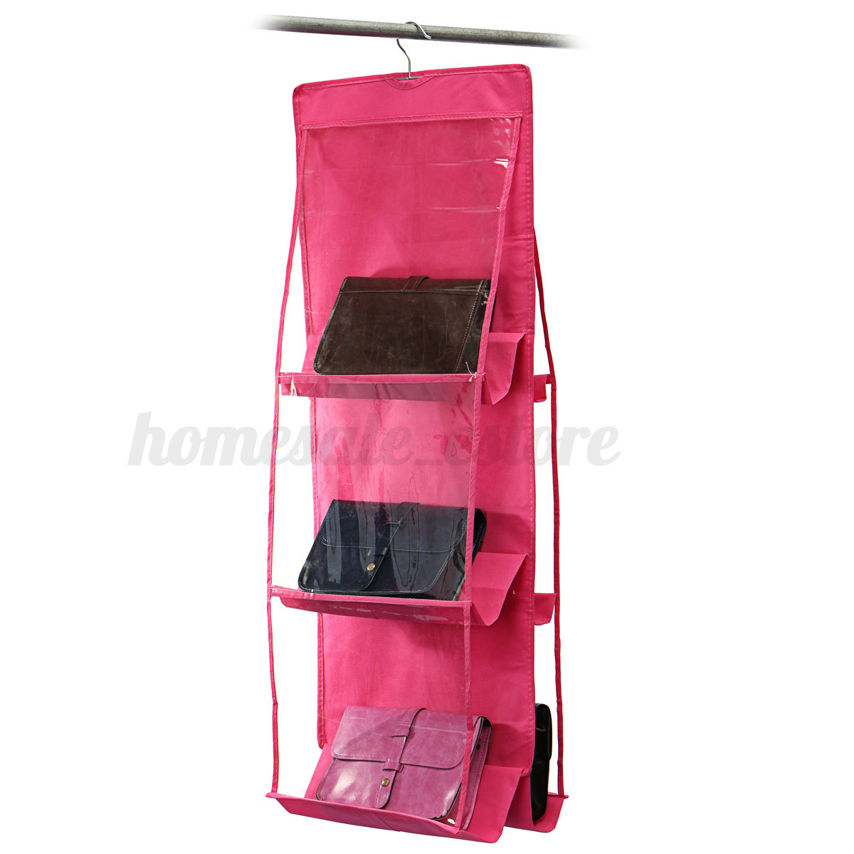 6 pocket shelf bags purse handbags organizer door hanging