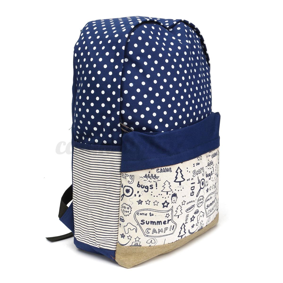 Vintage-Ladies-Girls-Canvas-Dot-Backpack-Rucksack-College-Shoulder-School-Bag-UK