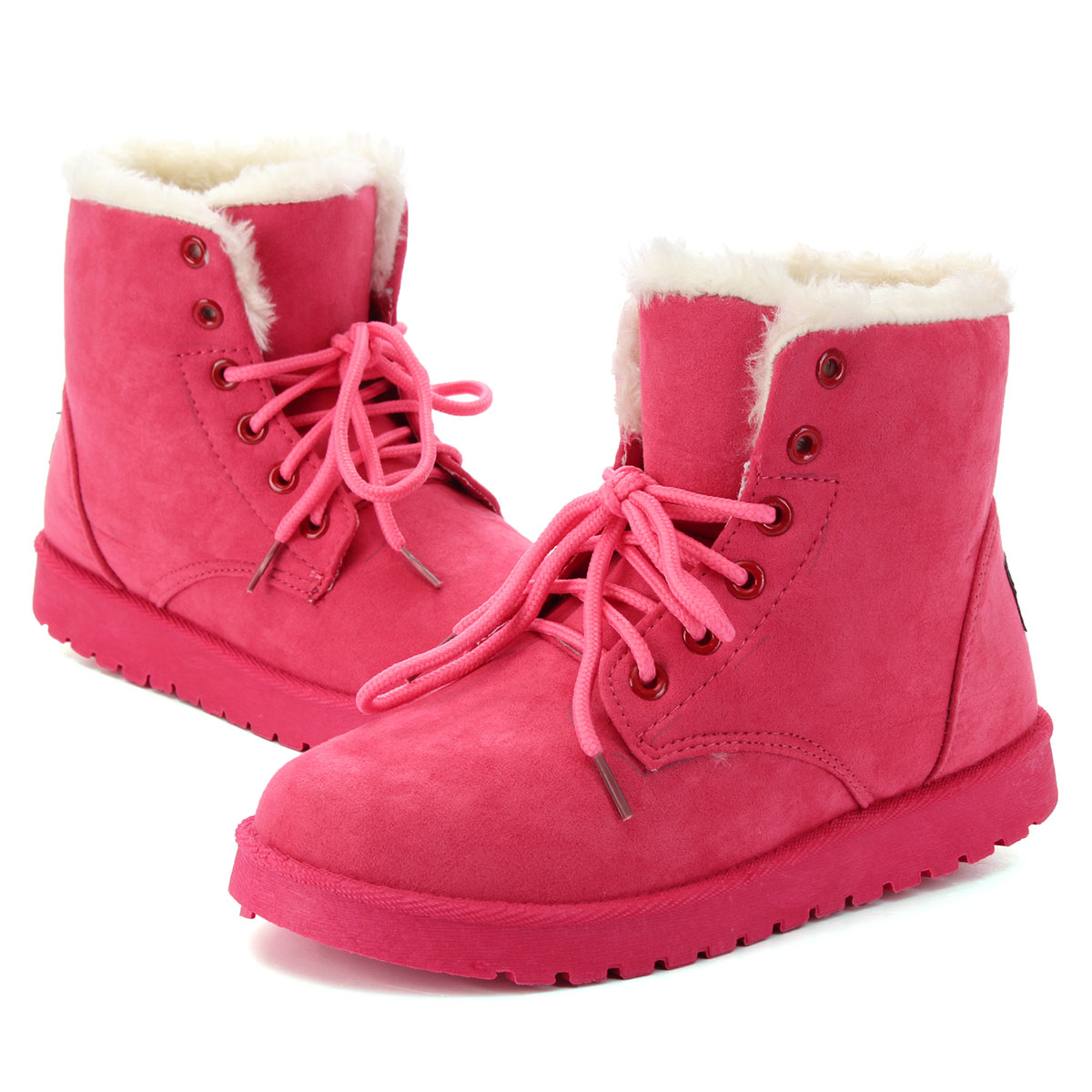 Women Winter Suede Flat Boots Lace Up Outdoor Fur Lined Work Snow Boots Shoes | EBay