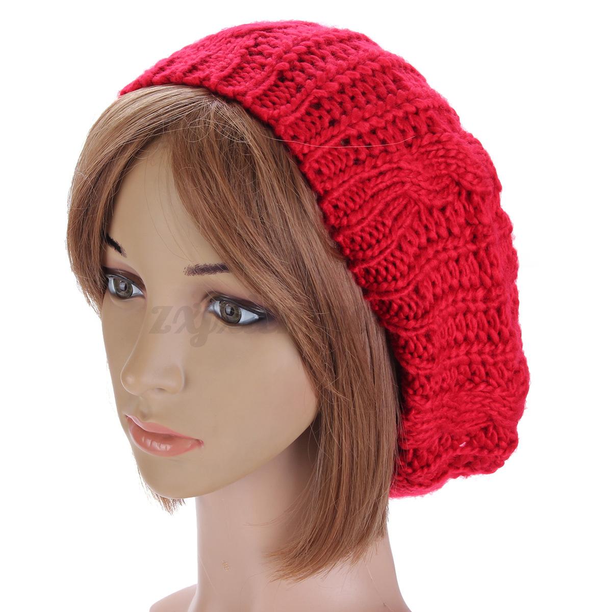 Home Women Men Warm Ski Knitted Crochet Baggy Beanie Hat Cap Beret Beige Intl Cheap Baggy