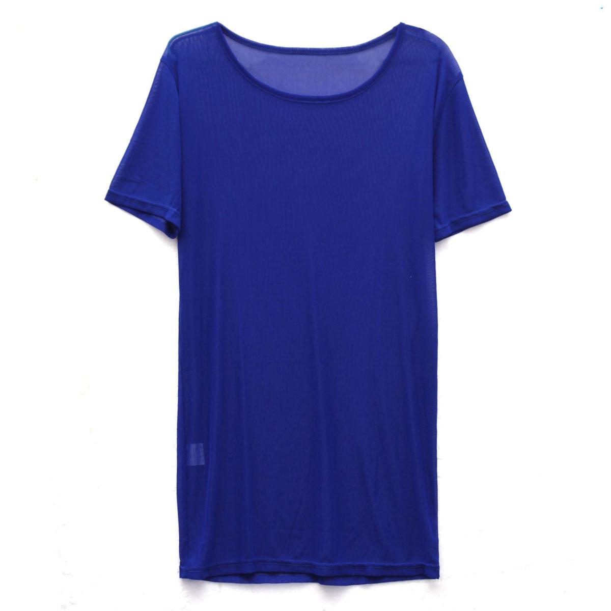 women ladies through sheer mesh short sleeve tee t shirt
