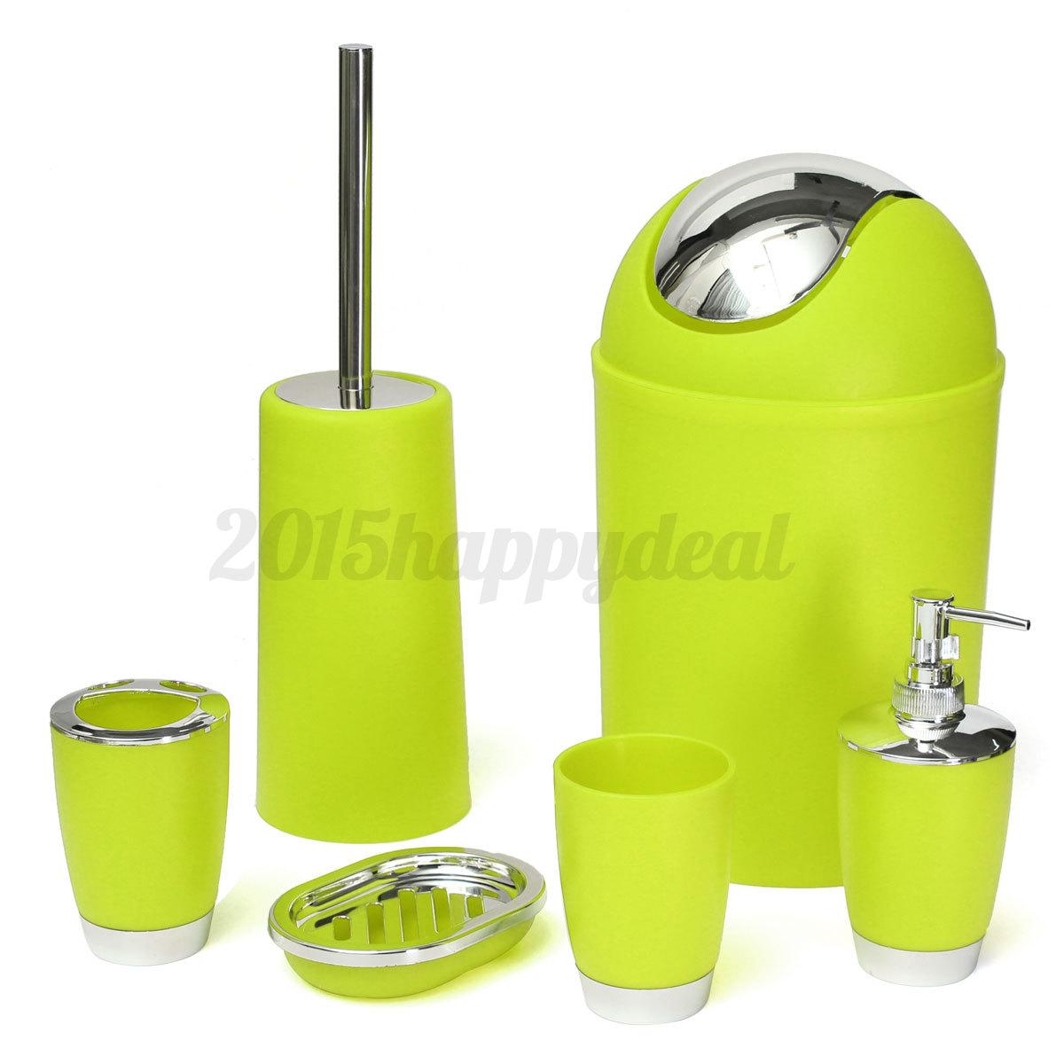 6pcs bathroom accessory set soap dish waste bin toothbrush for Bathroom bin and brush set