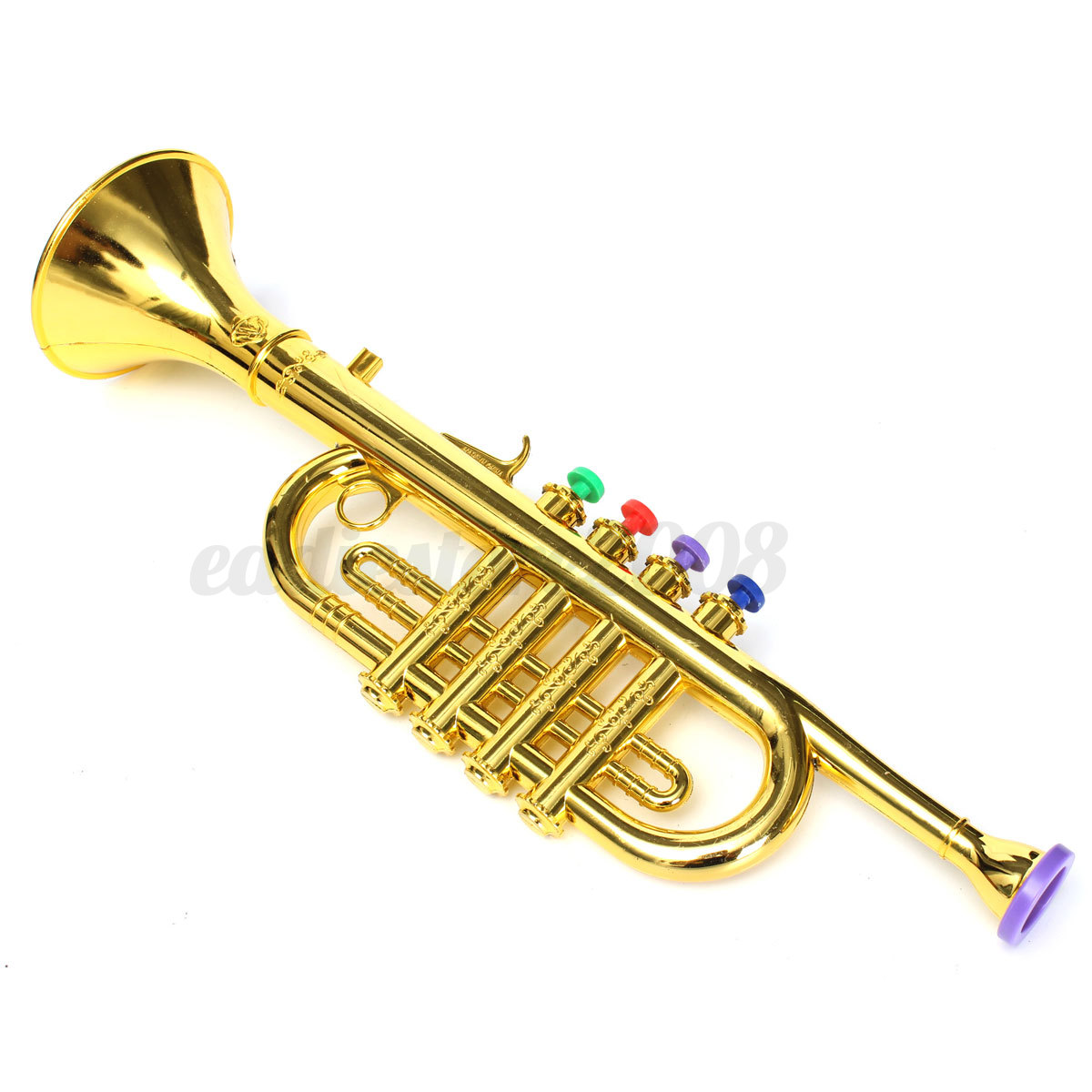 Toy Musical Horns : Gold silver horn trumpet musical instrument toy
