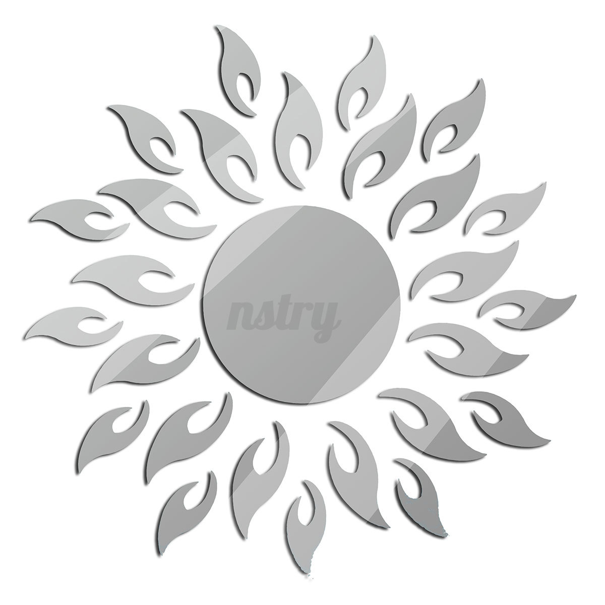 Adhesive 3d sun flower removable mirror wall sticker decal for Sticker miroir adhesif