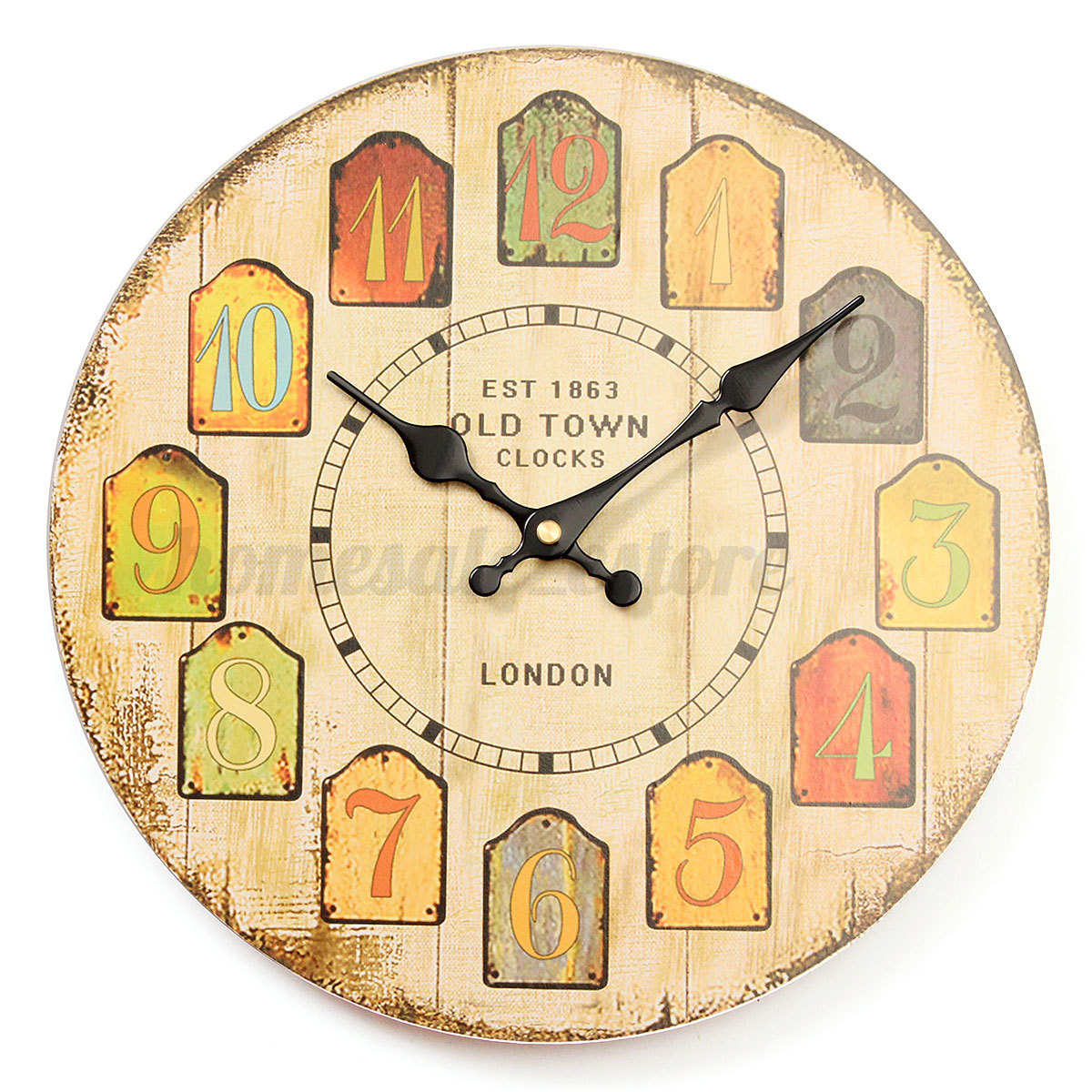 30cm Large Vintage Rustic Wooden Wall Clock Kitchen Antique Shabby ...