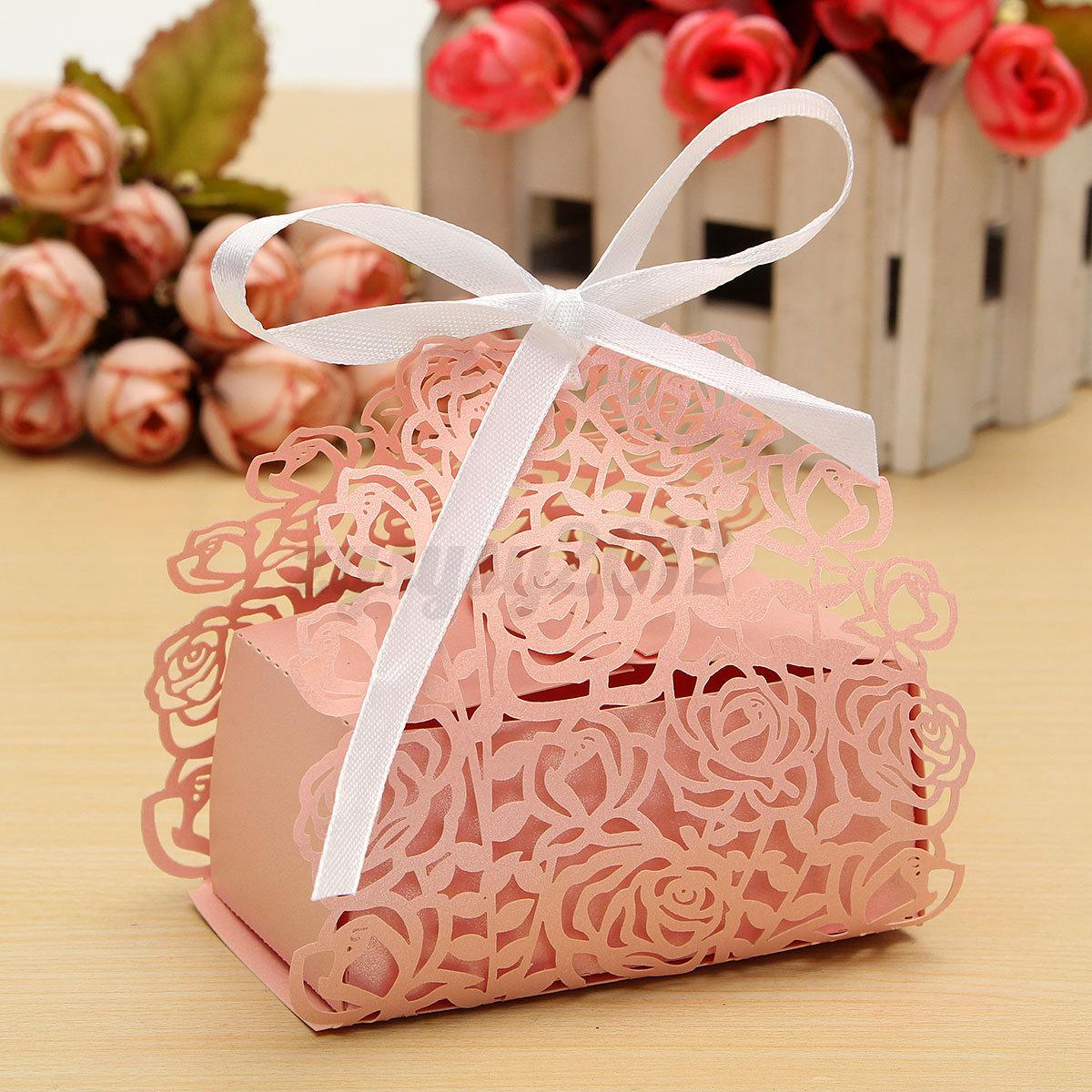 12 24 60X Ribbon Rose Laser Cut Sweet Cake Candy Gift