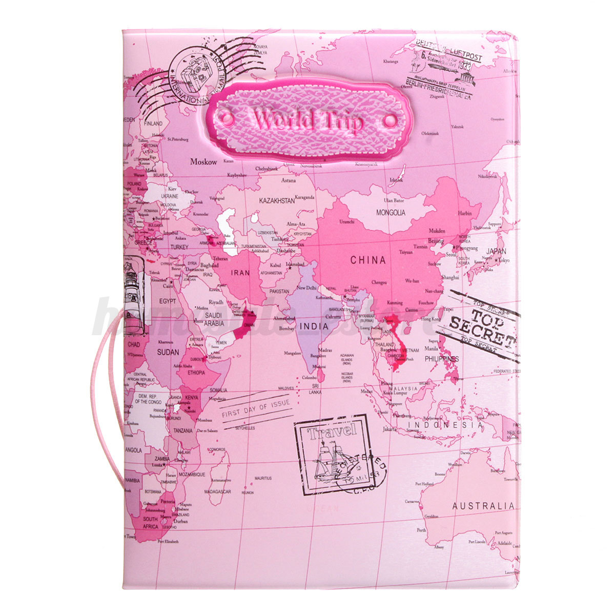 Leather world map passport holder organizer travel card case leather world map passport holder organizer travel card gumiabroncs Image collections