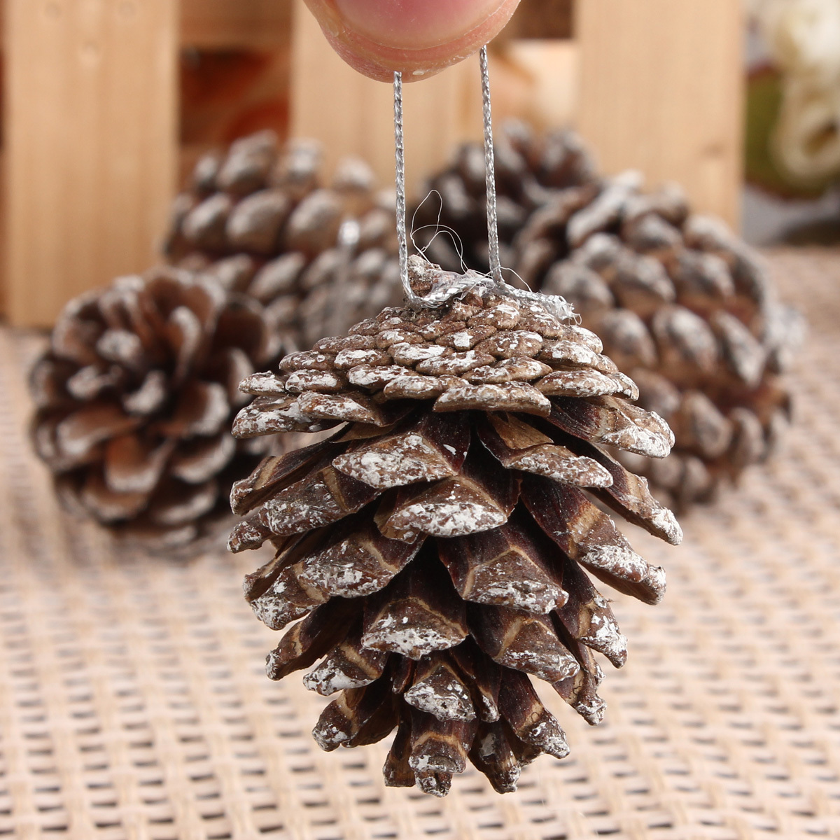 4 5 6 7cm christmas pine cones hanging xmas tree for Fir cone christmas tree decorations