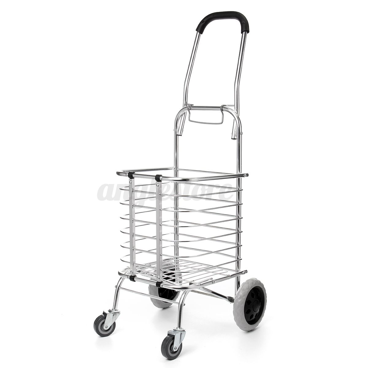 file cart with wheels aluminum folding portable shopping grocery basket cart 15382