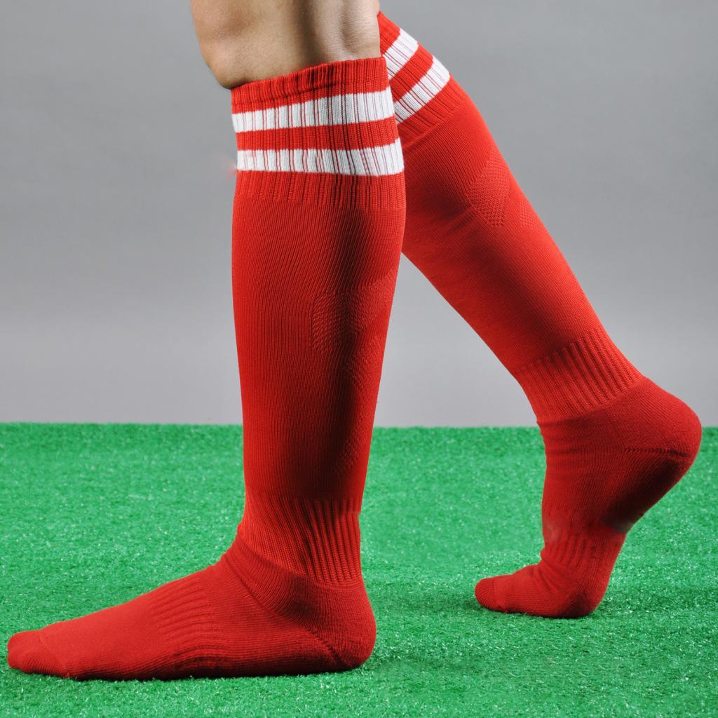 27ecdcd0e Men Stripe Thicken Cotton Knee Thigh High Stockings Football Running Sport  Socks Clothing