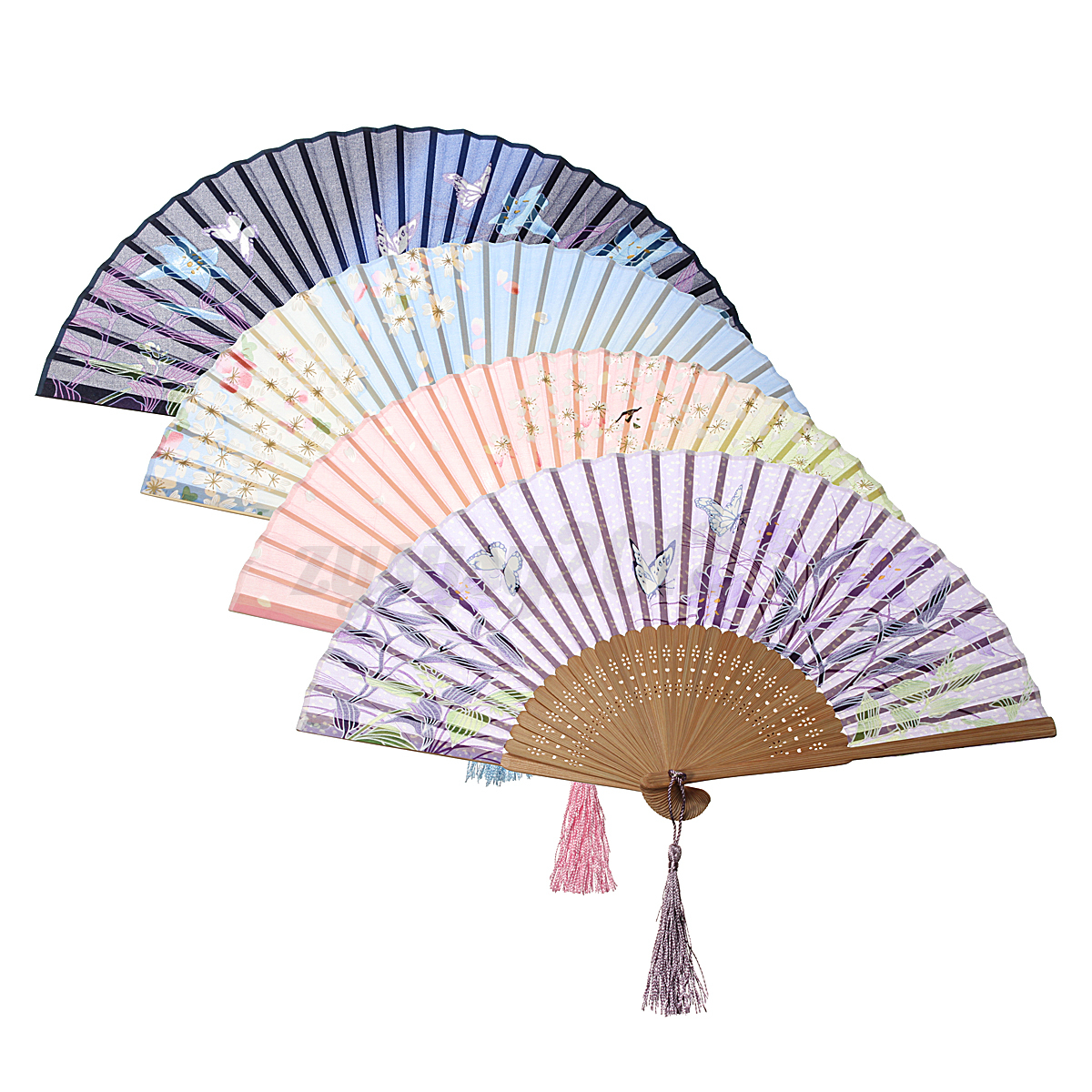 Hand Held Fans : New chinese flower silk lace folding hand held fan wedding