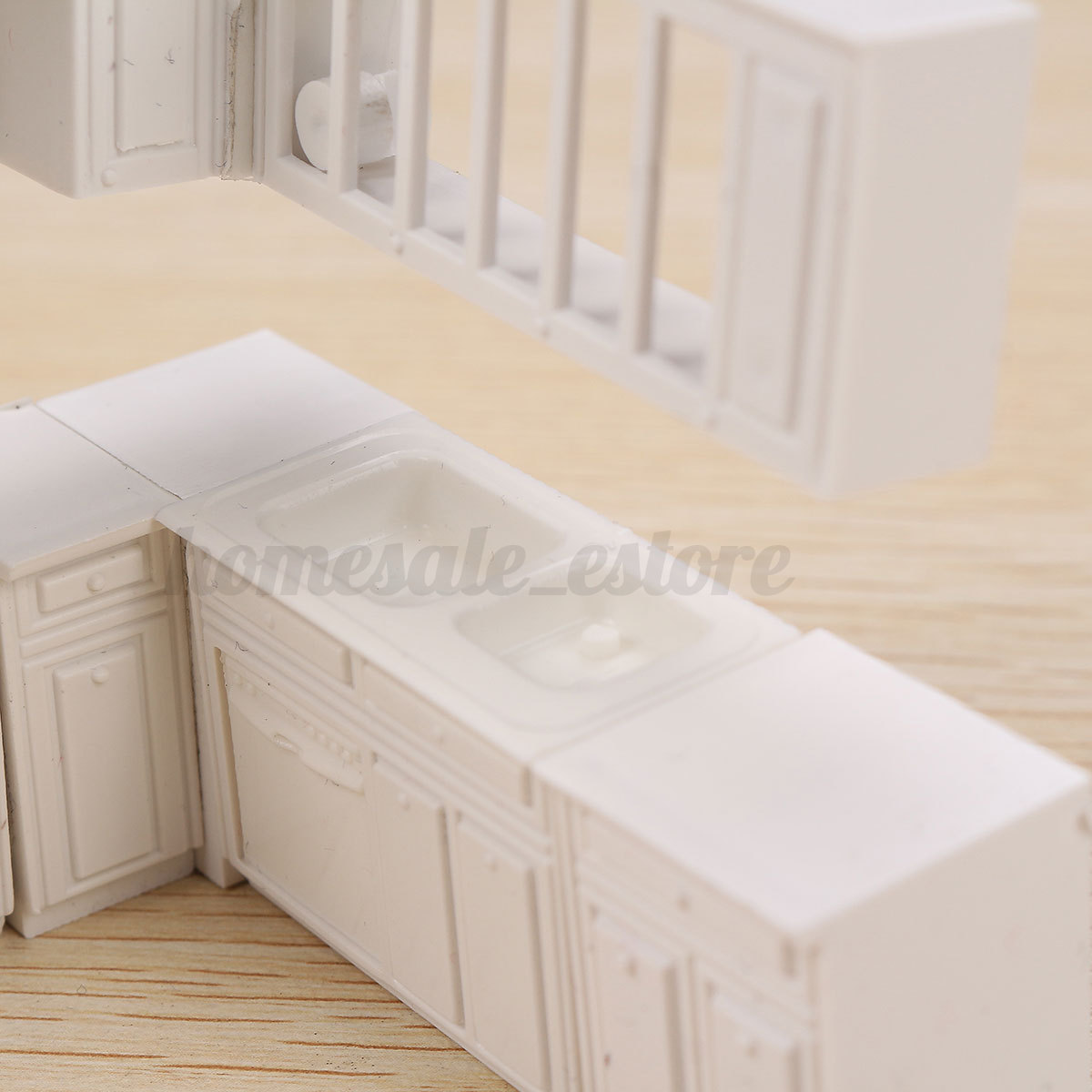 16pcs doll house kitchen furniture cabinet cupboard closet for Full kitchen cabinet set