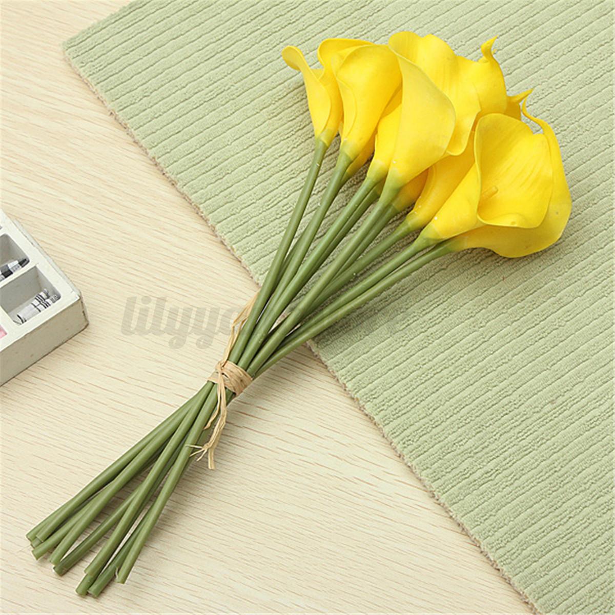 10tlg lilien kunstblumen latex blumen strau deko lily flower tischdeko bl ten ebay. Black Bedroom Furniture Sets. Home Design Ideas