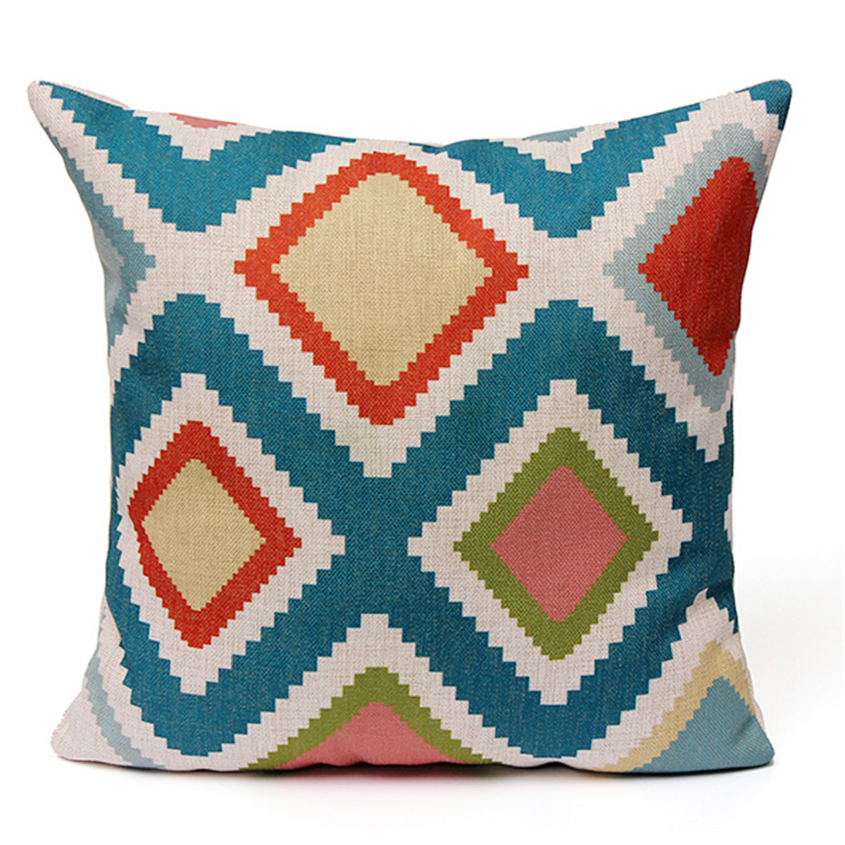 Geometric Stripe Wave Zig Zag Pillow Case Cushion Cover Linen Cotton Home