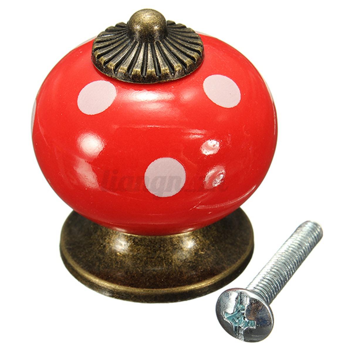 Poign e de porte bouton color citrouille c ramique pour - Poignee de porte ceramique ...