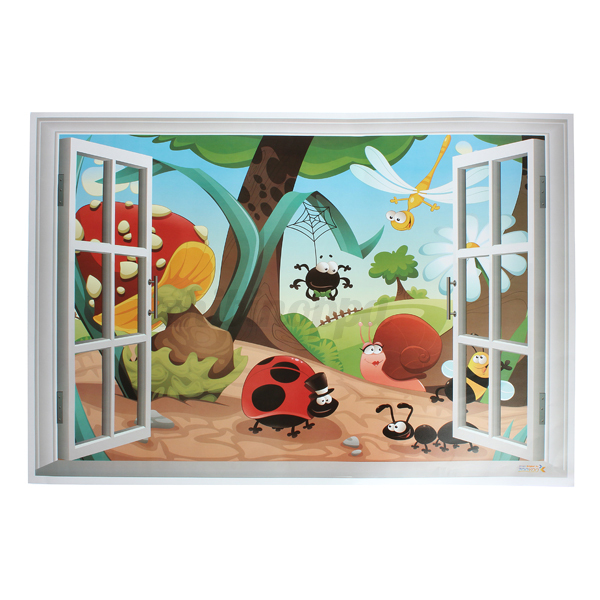3D Bugged Out Window Removable Vinyl Wall Decal Stickers Kids Room Home Decor US 2