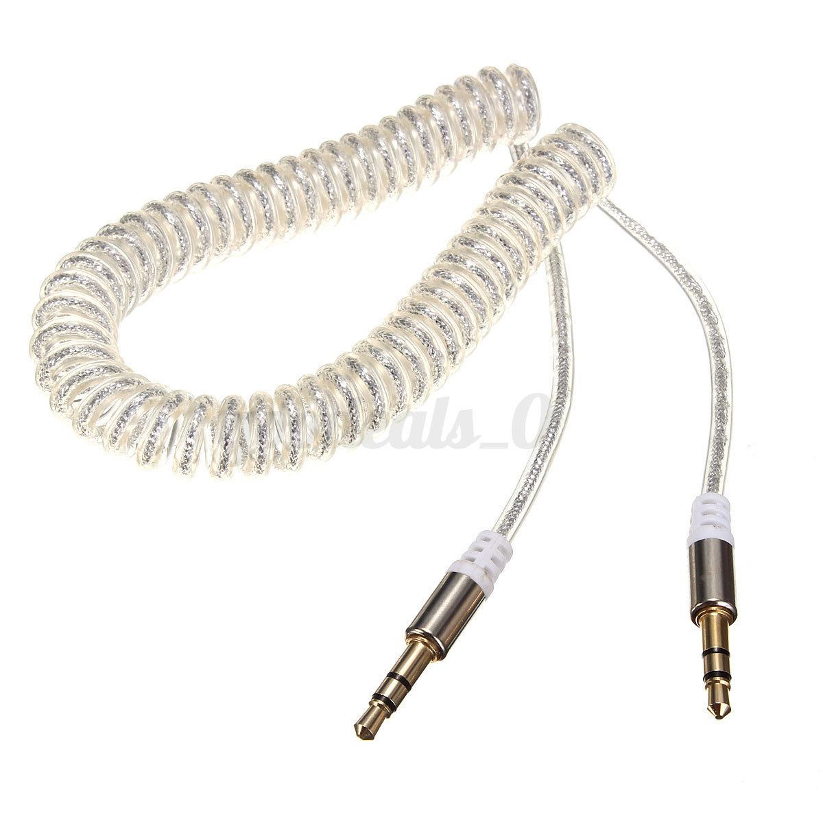 3.5mm Spiral Curly Stereo Jack To Jack Audio Headphone Aux Coiled Lead Cable
