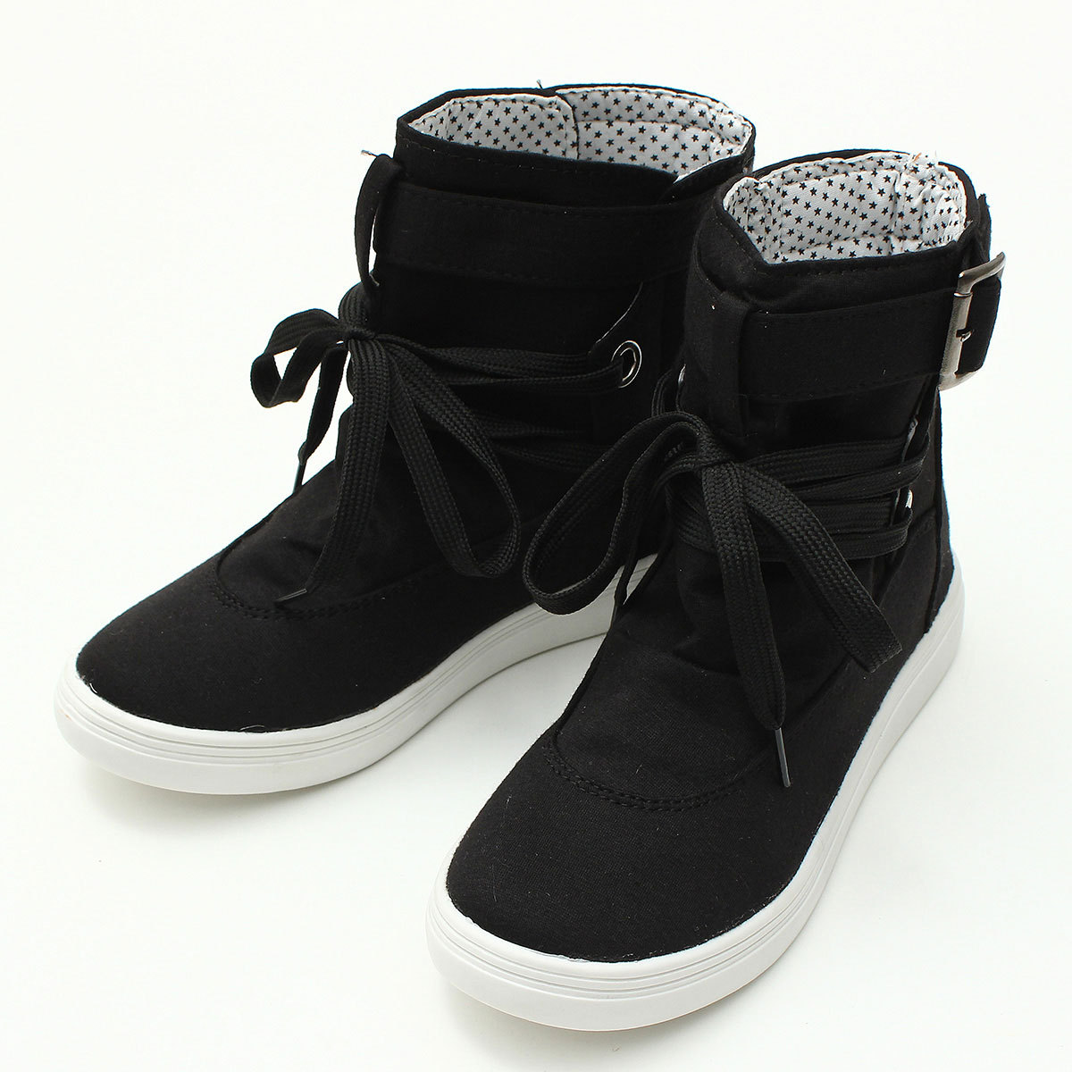 Women Canvas Sneaker Buckle Strap Lace Up Hiking Flats High Top Sports Shoes 4-6