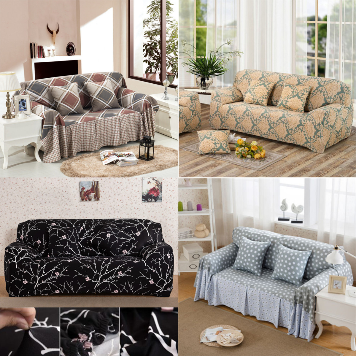 Details about 1~4x Seater Stretch Check Linen Blend Slipcover Sofa  Furniture Protect Cover US