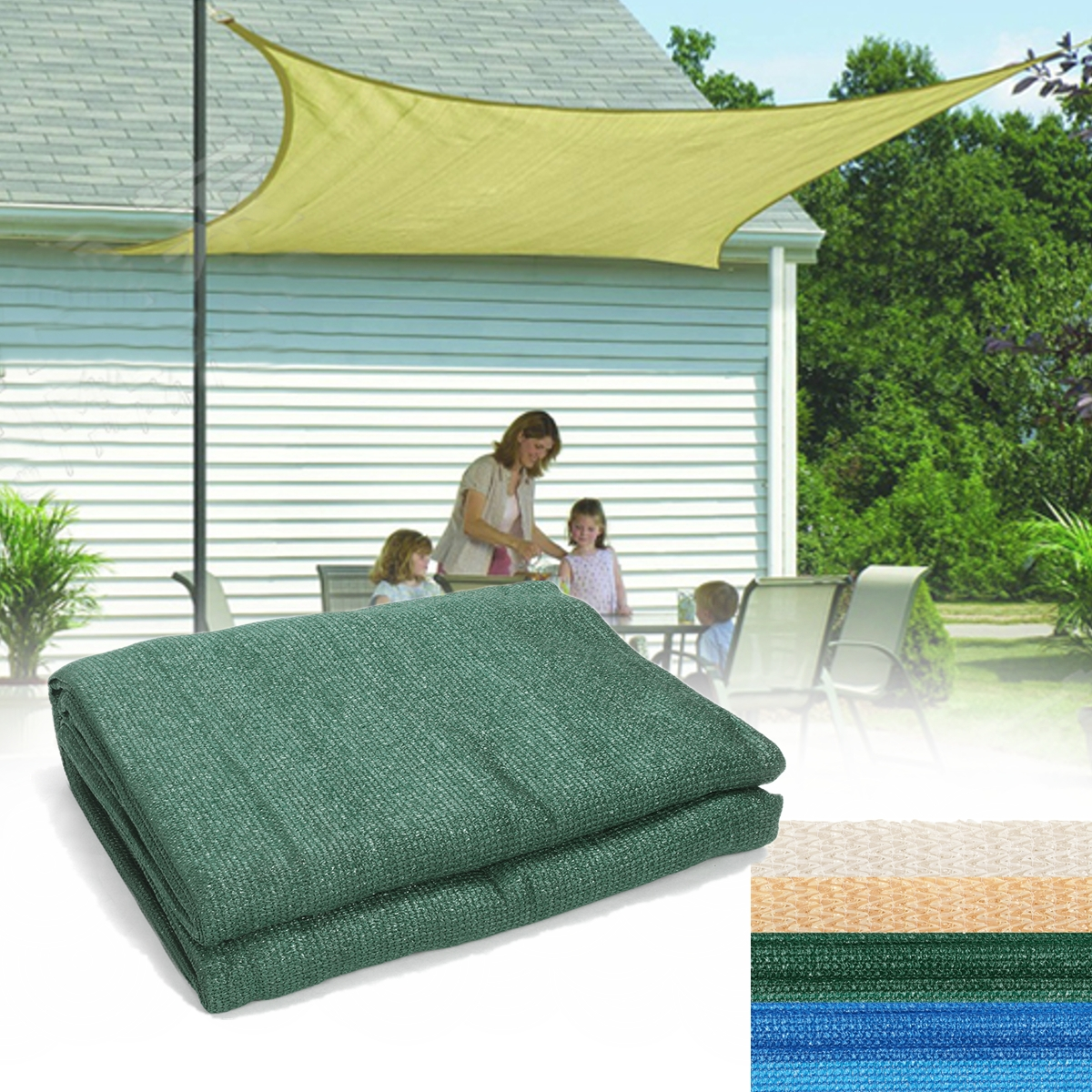 3mx3m Square 90% UV Block Sun Shade Sail Garden Patio
