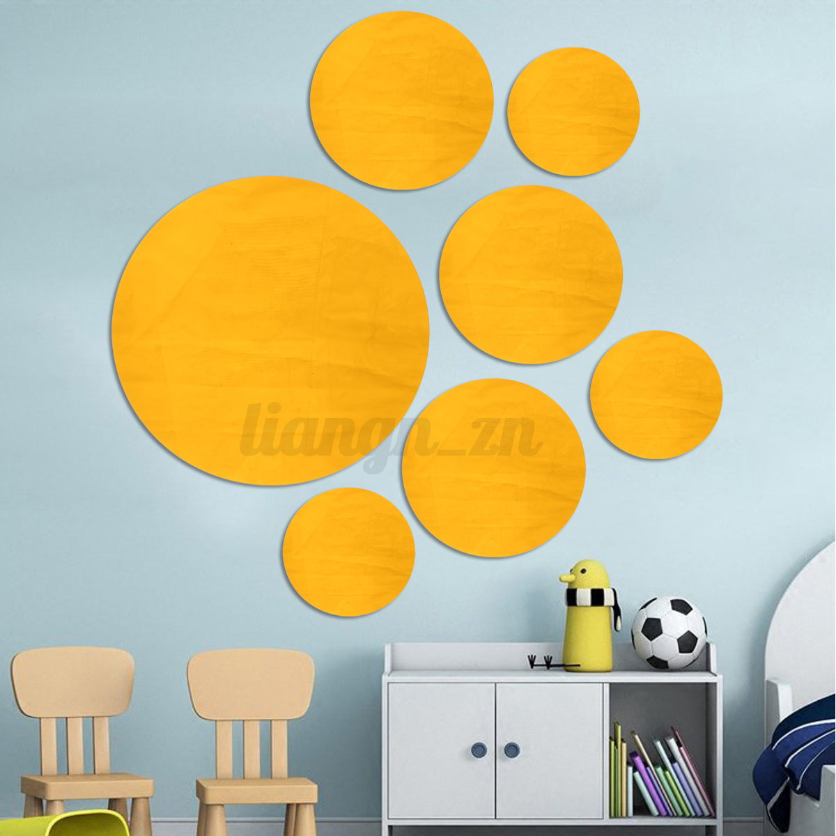 7Pcs Removable Round 3D Mirror Decal Mural Wall Sticker Home Room ...