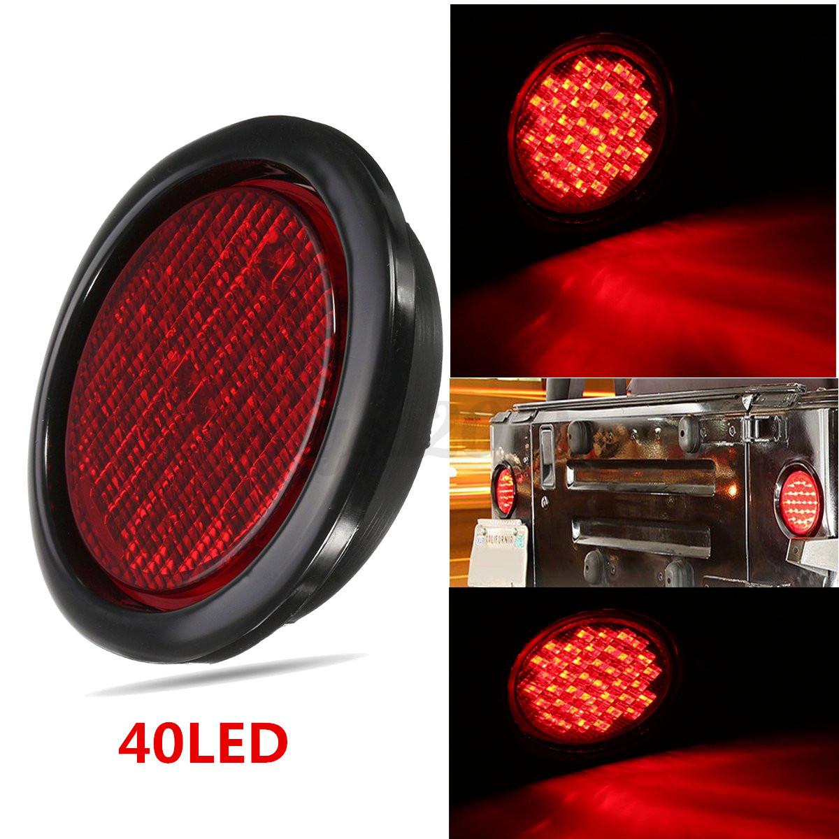 4 Round Red Led 12v Stop Turn Tail Light Flush Rubber