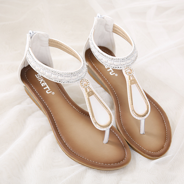 SOCOFY Women Metal Clip Toe Beach Sandals Wedge Summer Shoes Beach Slippers