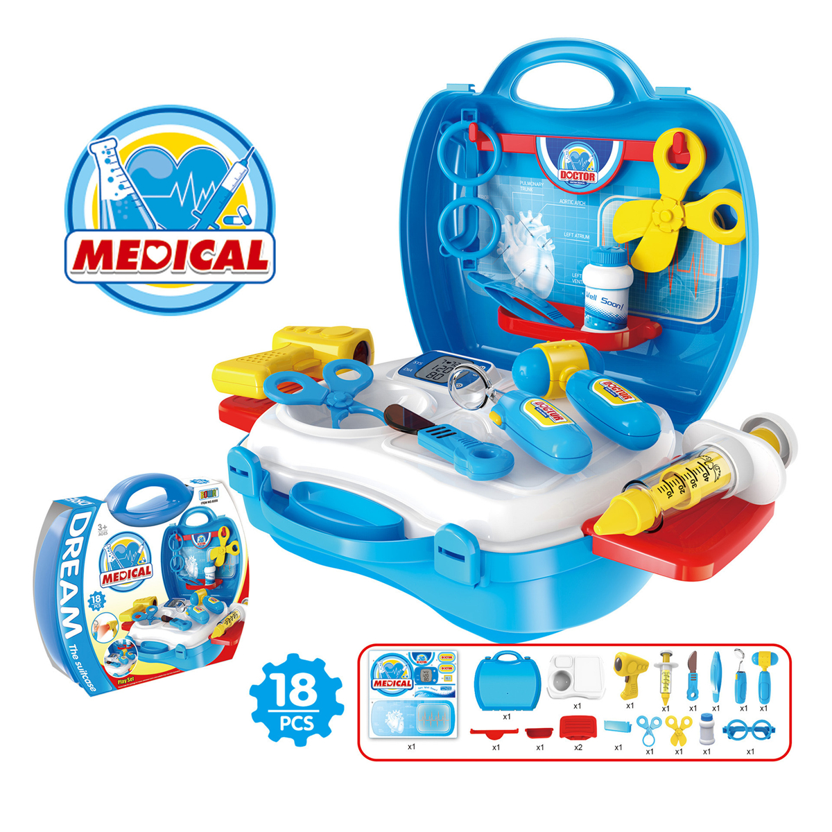Childrens Kids Role Pretend Kitchen Cooking Doctor Cosmetics Play ...