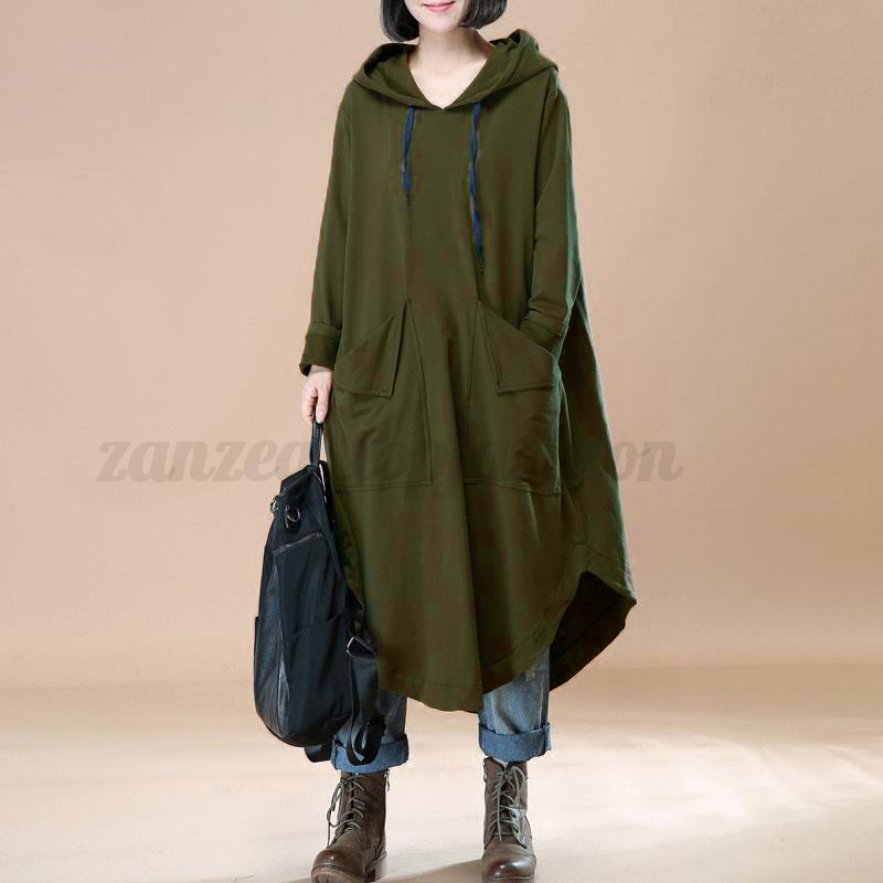 L-5XL ZANZEA Women Oversized Loose Batwing Hooded Maxi Dress Kaftan Sweatshirt