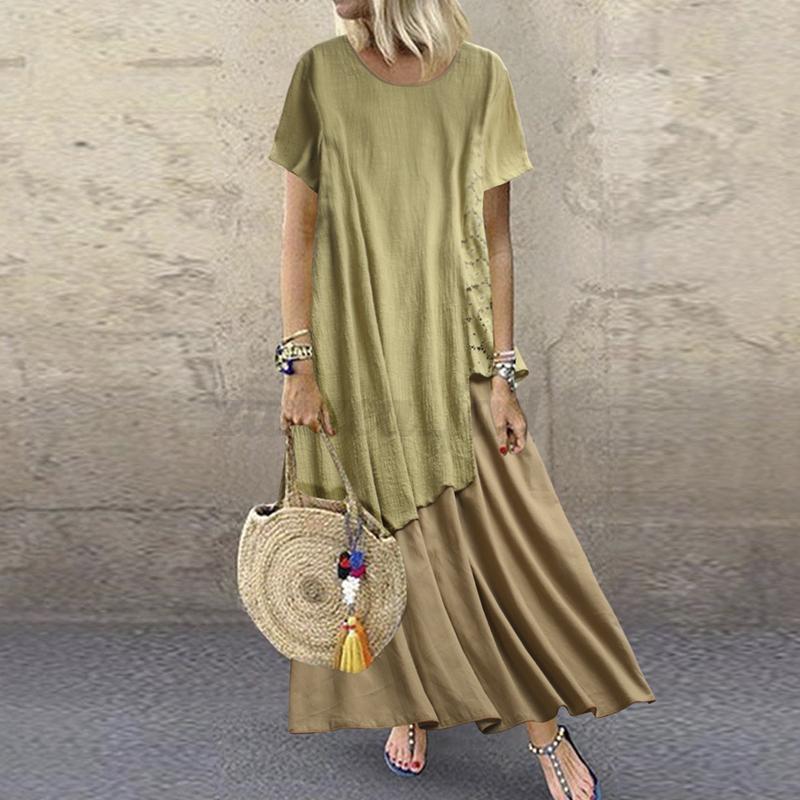 Damen Kurzarm Kleid Sommerkleid Freizeit Strand Linen