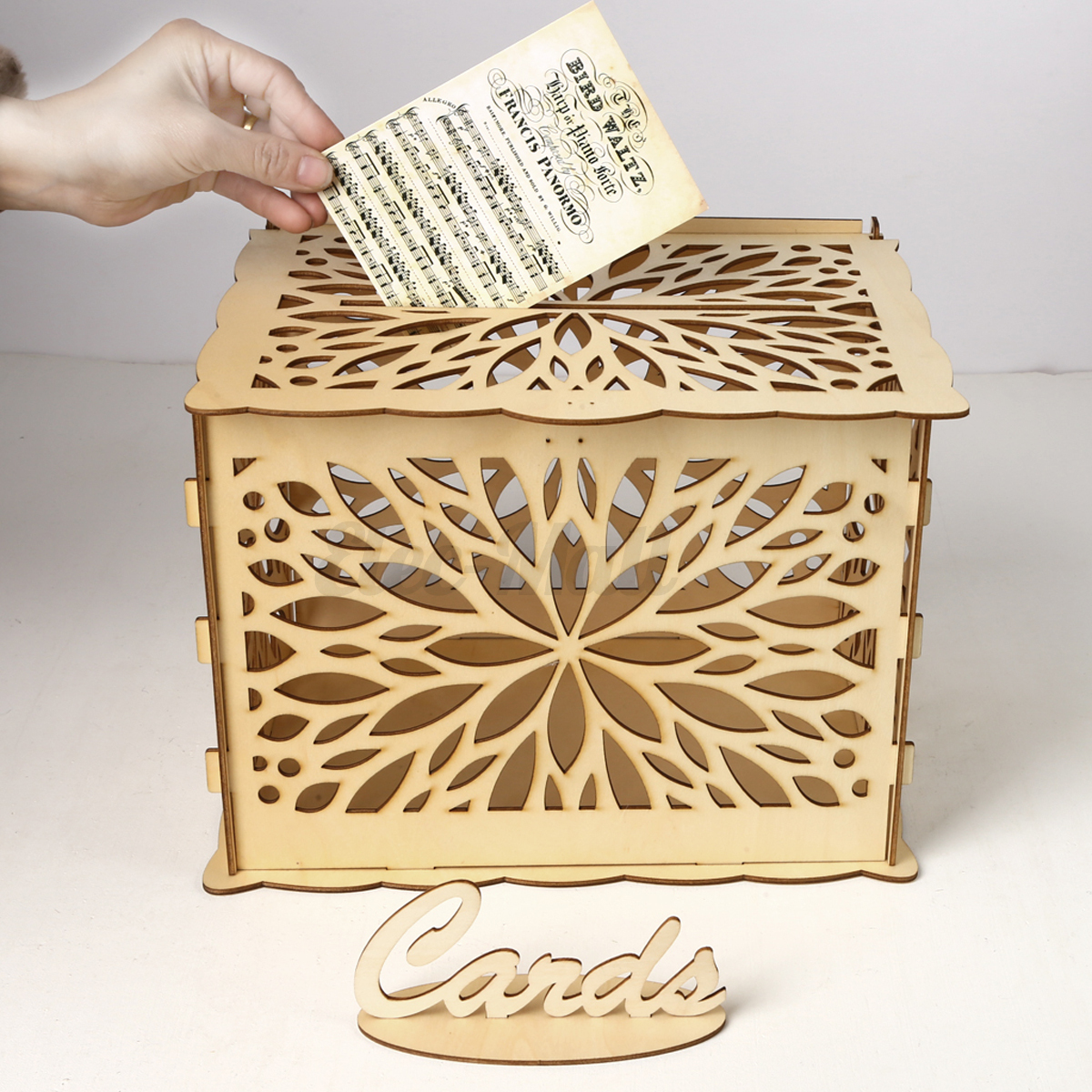 Wooden Wedding Card Post Box With Lock Collection Gift Card Boxes