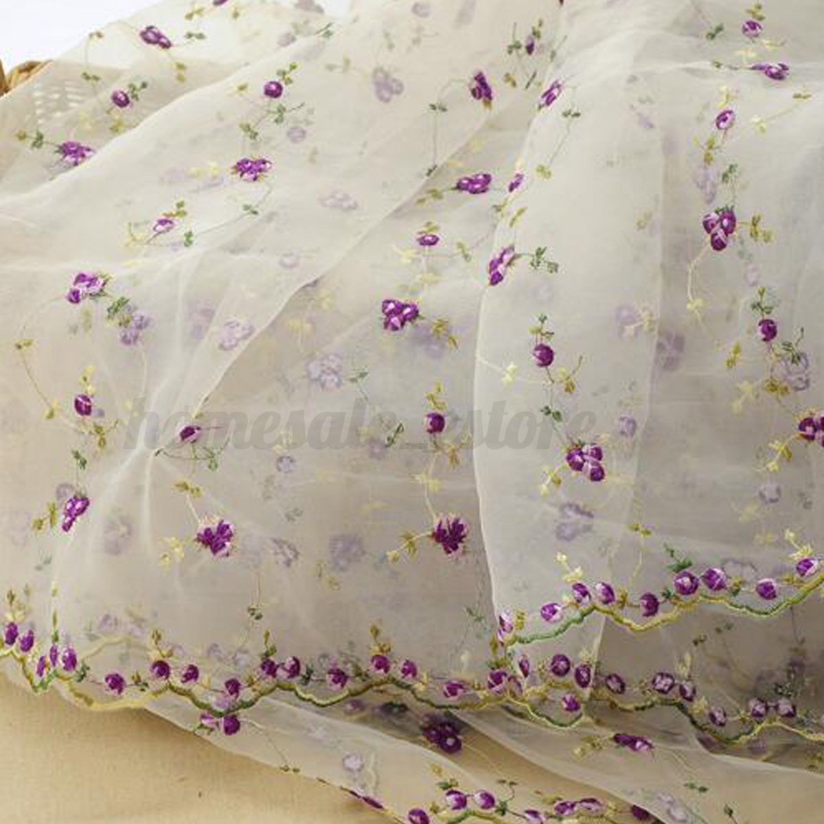 Yard lace fabric white organza flowers embroidery