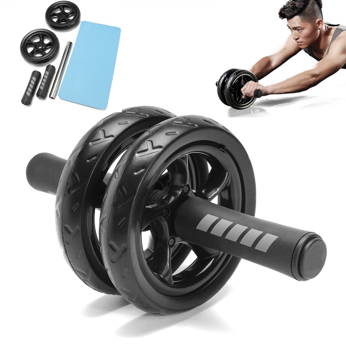 Abdominal Exercise Roller Body Fitness Strength Training ABS Wheel Gym w//Hassock