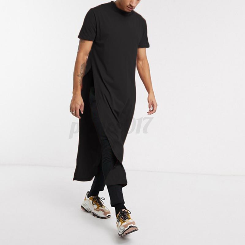 Hommes-Kaftan-a-Manches-Courtes-Asymetrique-Pleine-Longueur-Robe-Kaftan-Chemises miniature 12