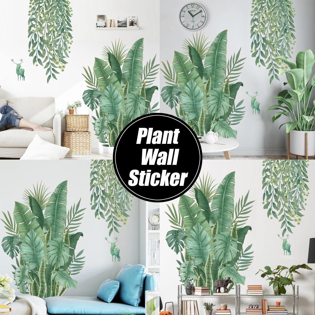 Wall Stickers Diy Green Leaves Plant Wallpaper Home Bedroom Decor Ebay