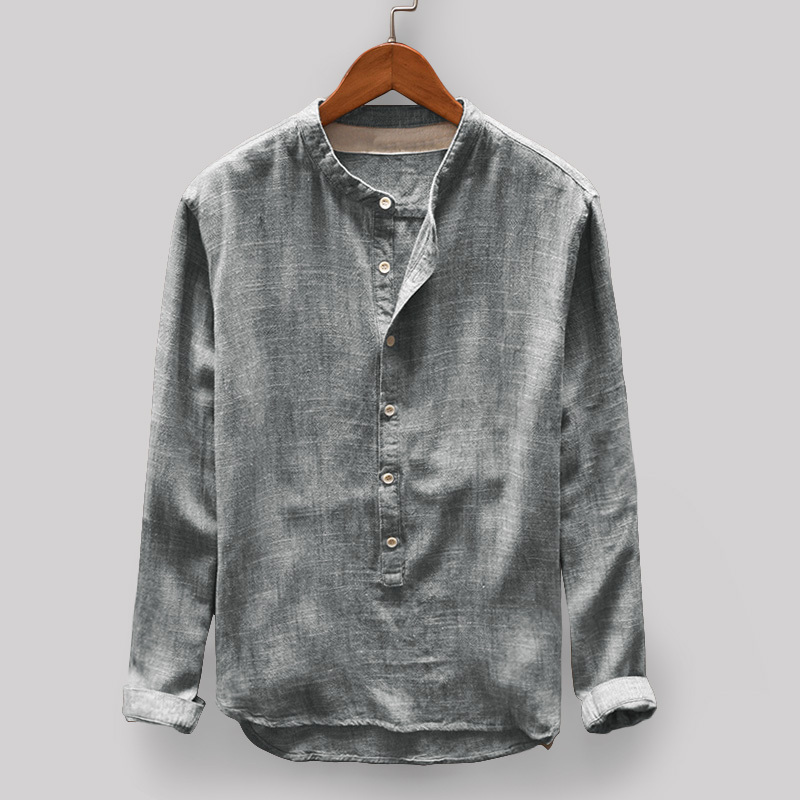 UK-Mens-Solid-Linen-T-shirt-Long-Sleeve-Retrol-Stand-Up-Collar-Top-Chinese-Style thumbnail 16