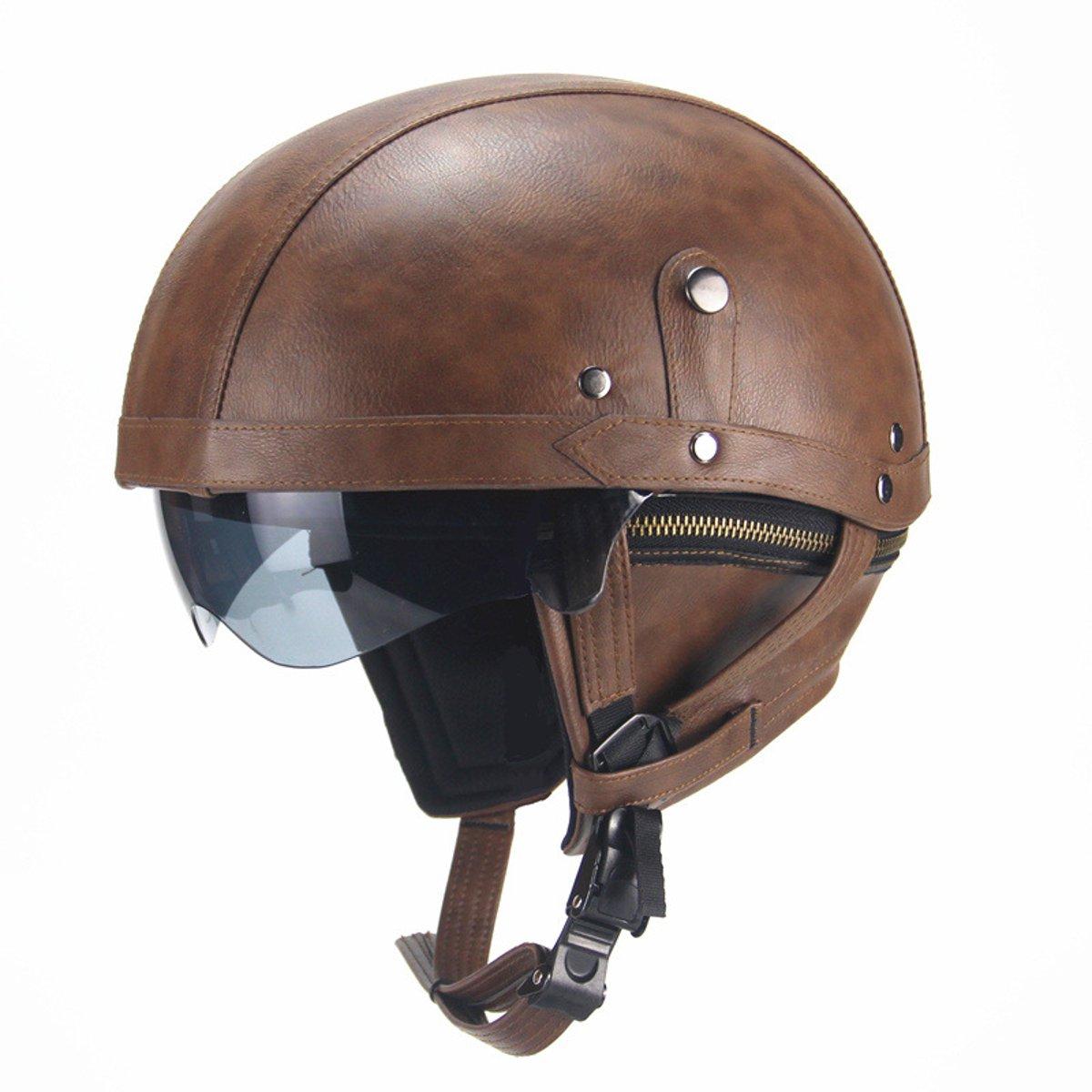 Retro-PU-Leather-Motorcycle-Open-Face-Half-Helmet-amp-Visor-Motorbike-Scooter-Safe