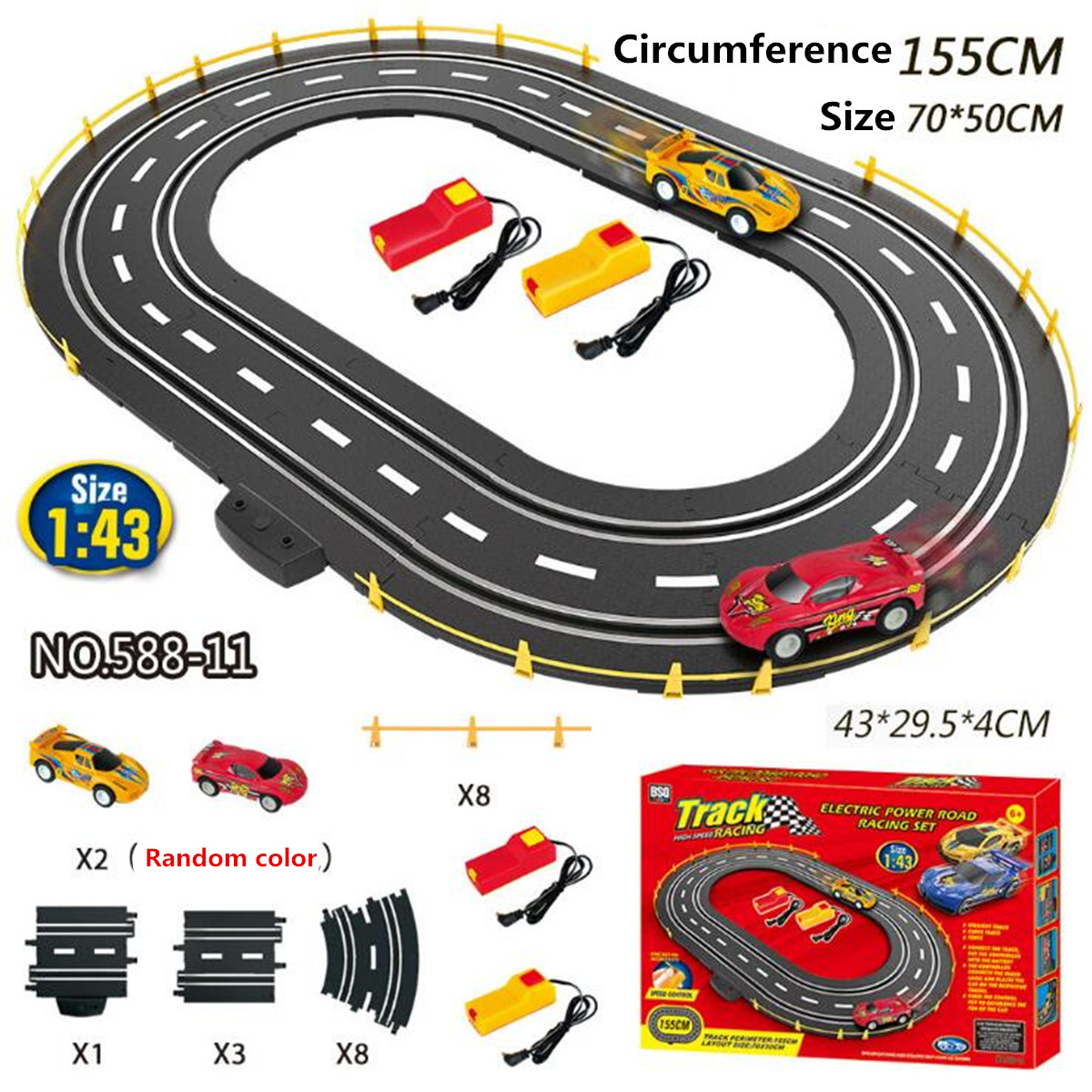 Details About 1 43 Electric Racing Track Car Slot Toy Set Rail Diy Embly Kids