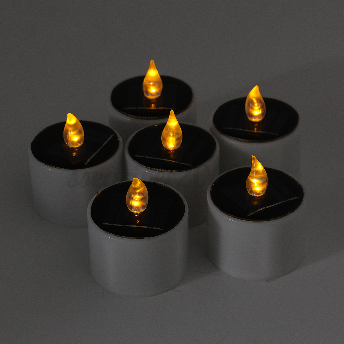 6pcs solar powered led candle flameless warm white tealight wedding decoration ebay. Black Bedroom Furniture Sets. Home Design Ideas