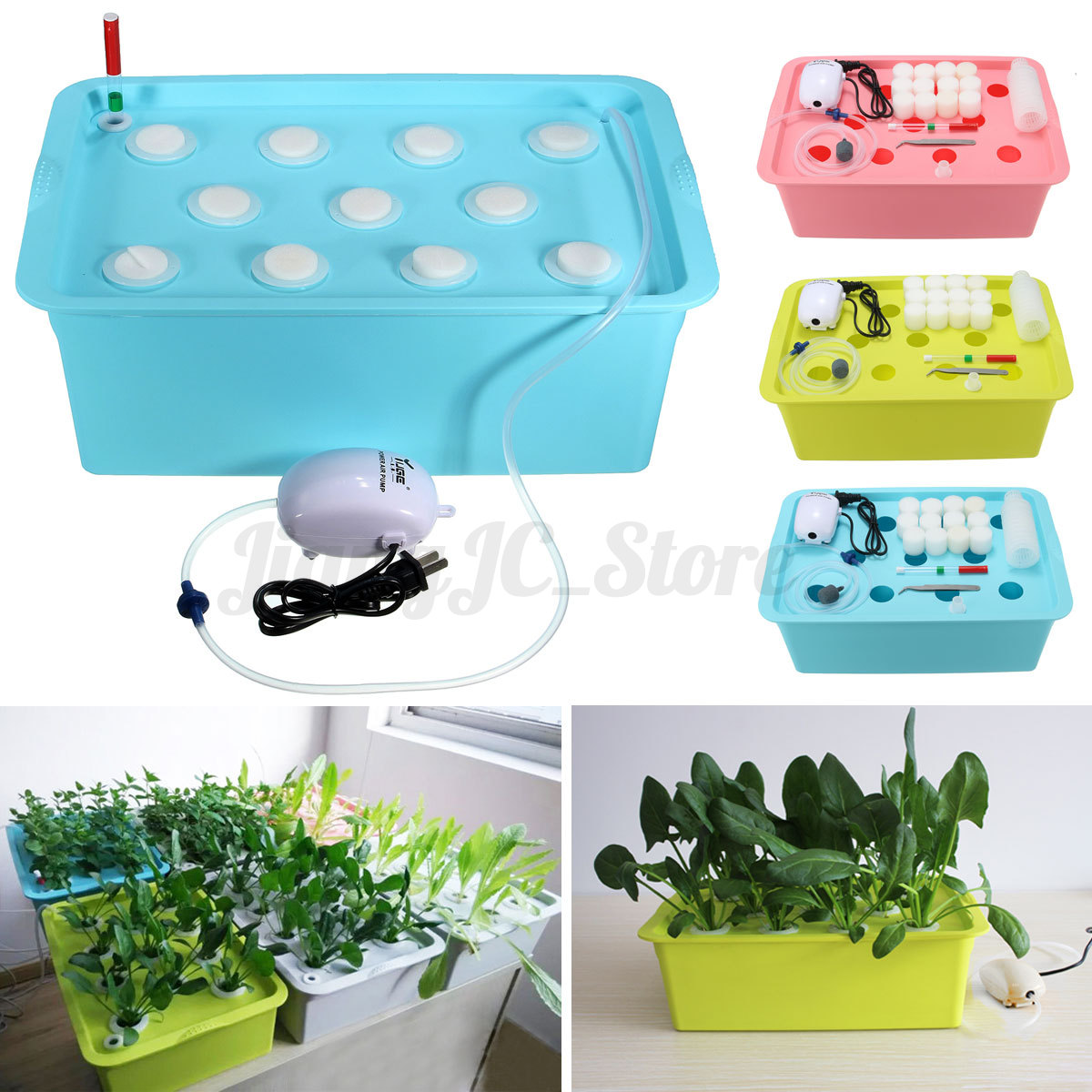 11 plant site watering hydroponic system grow kit culture. Black Bedroom Furniture Sets. Home Design Ideas